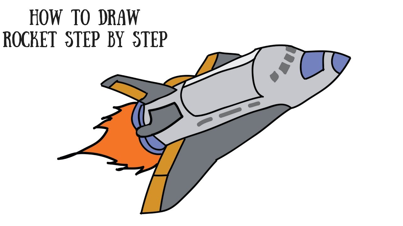 How to Draw A Rocket step by step For Kids Draw NASA Rocket Launcher ..