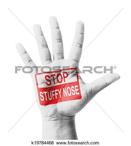 Pictures of Open hand raised, Stop Stuffy Nose (Nasal congestion.