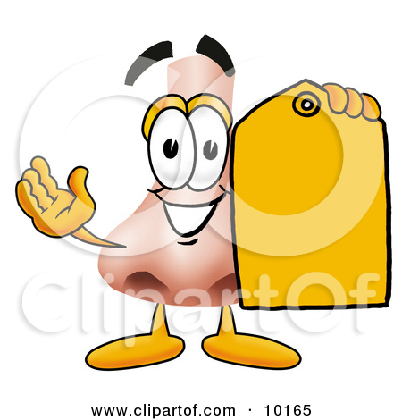 Clipart Picture of a Nose Mascot Cartoon Character Holding a Blank.