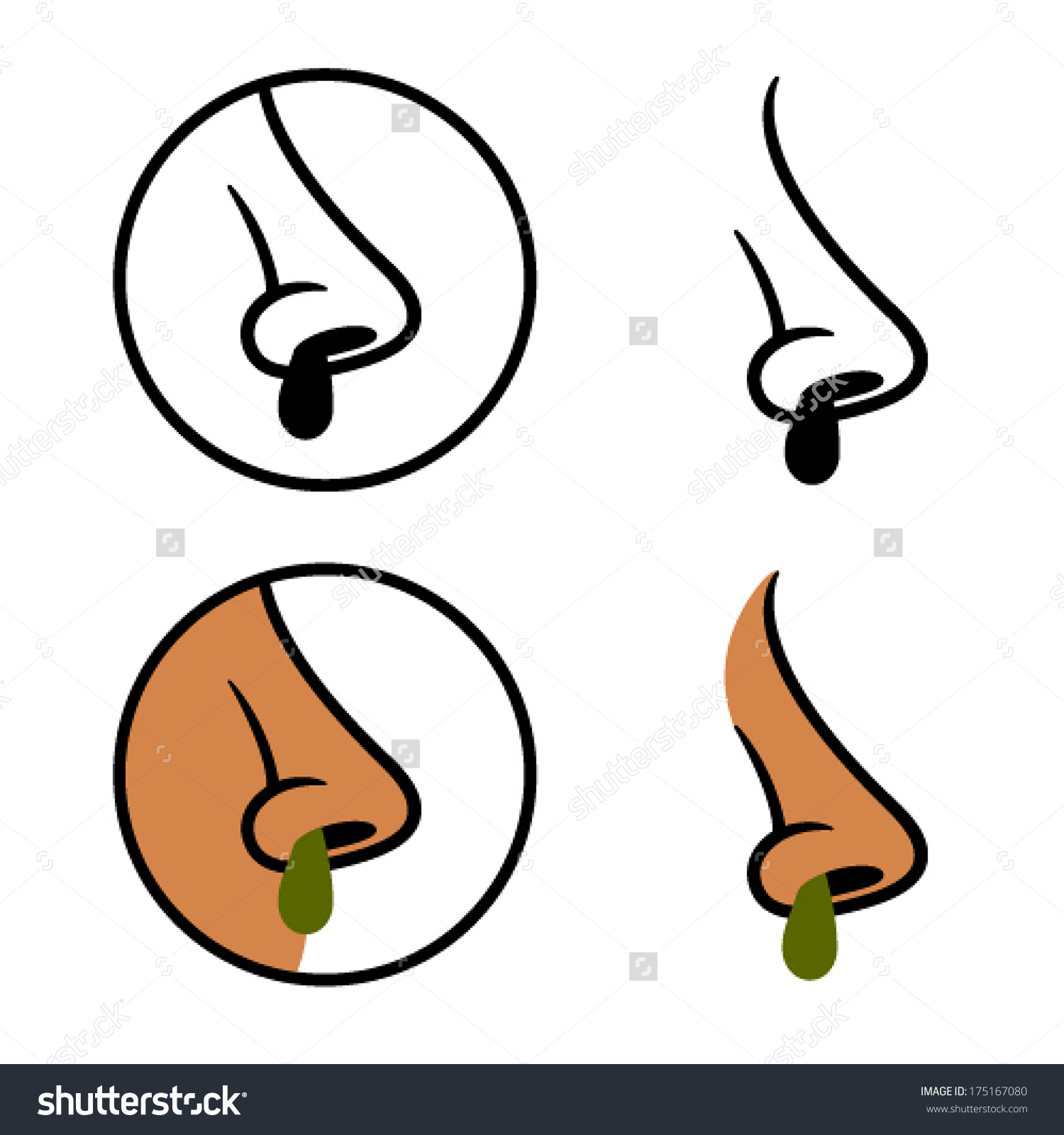 Vector Human Nose Snot Booger Cold Stock Vector 175167080.