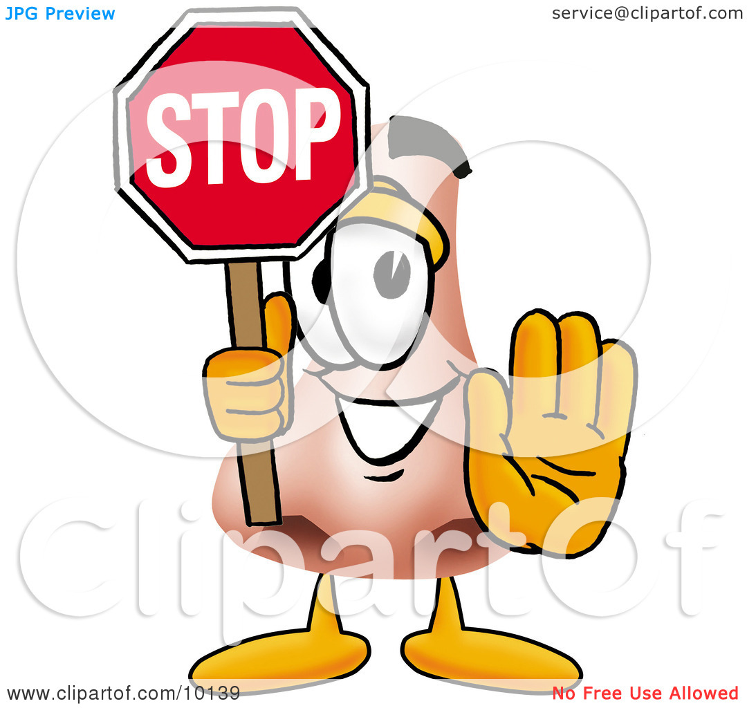 Clipart Picture of a Nose Mascot Cartoon Character Holding a Stop.