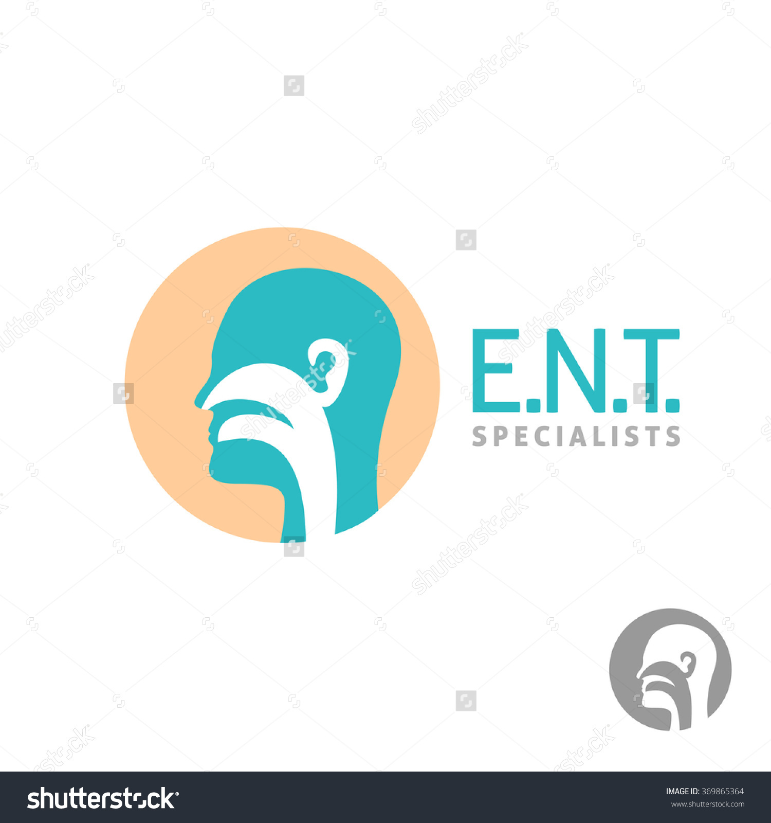 Ent Logo Template Head Silhouette Sign Stock Vector 369865364.