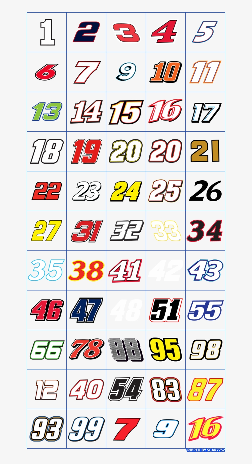 Nascar Numbers Png.