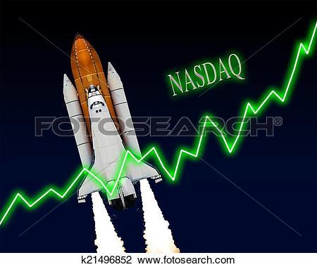 Clip Art of NASDAQ Index Chart k21496852.