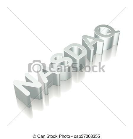 Clipart Vector of 3d metallic character NASDAQ with reflection.