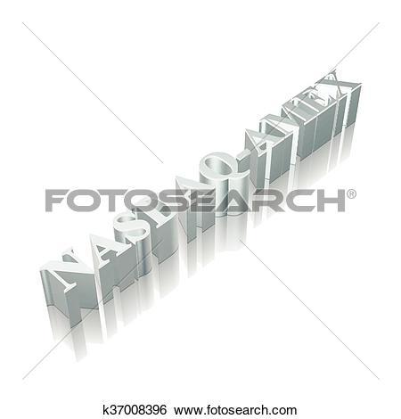 Clip Art of 3d metallic character NASDAQ.