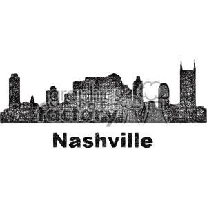 black and white city skyline vector clipart USA Nashville . Royalty.