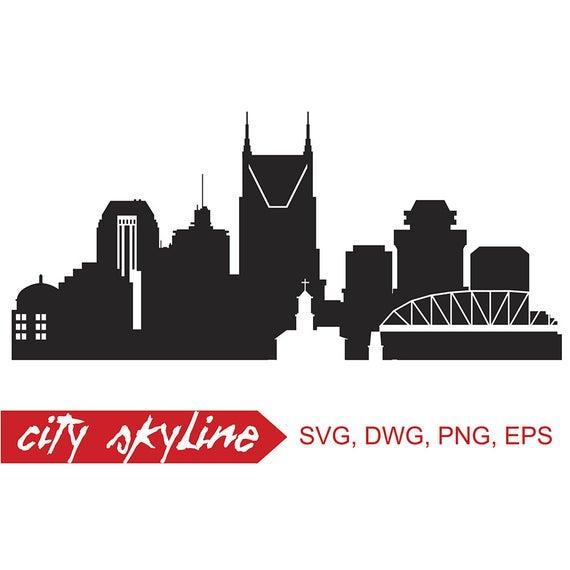 Nashville Vector Skyline, Nashville SVG, silhouette, Svg, Dxf, Eps, Ai, Cdr  files. Design elements, Silhouette clipart, Tennessee clip art.