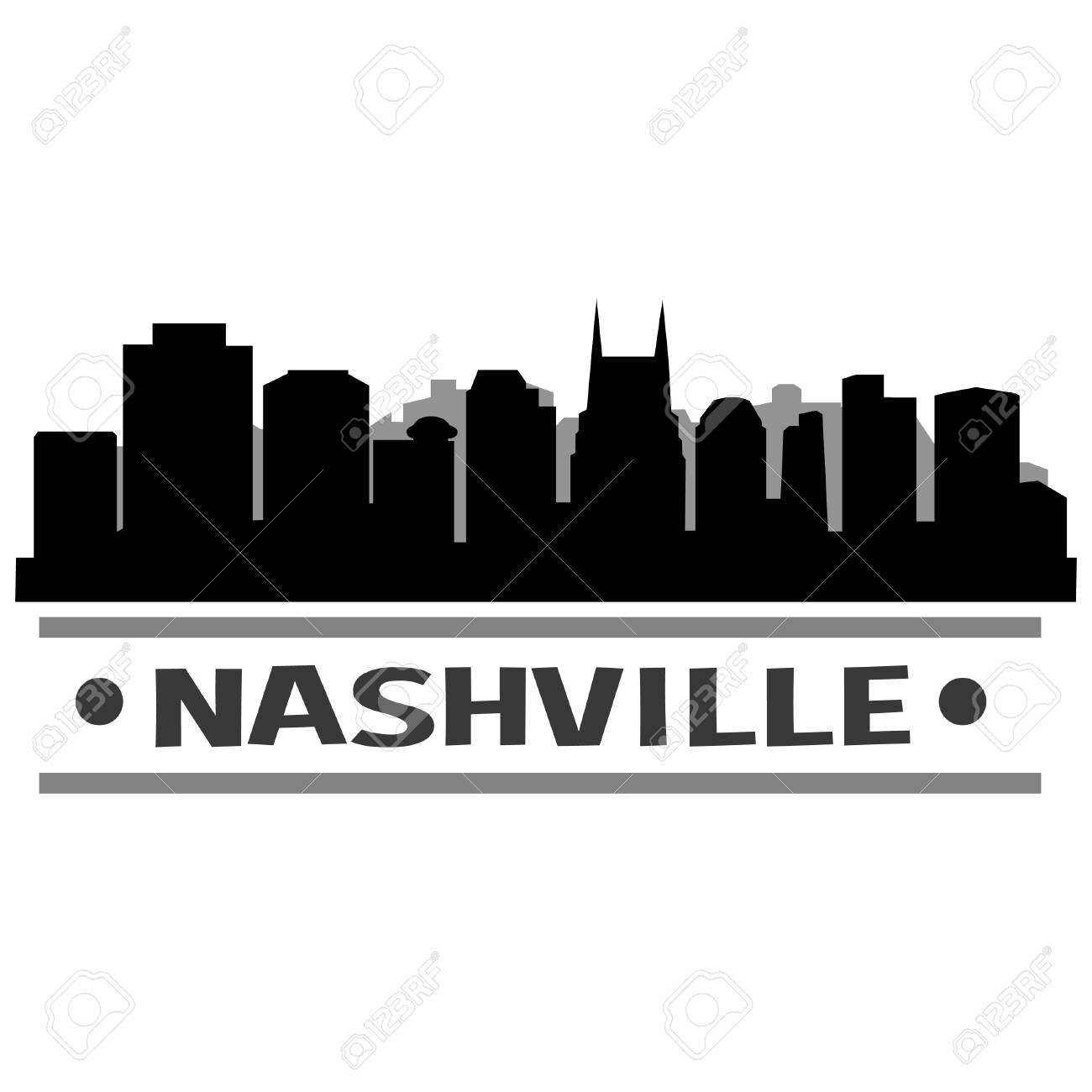 Nashville Skyline Vector Art City Design.