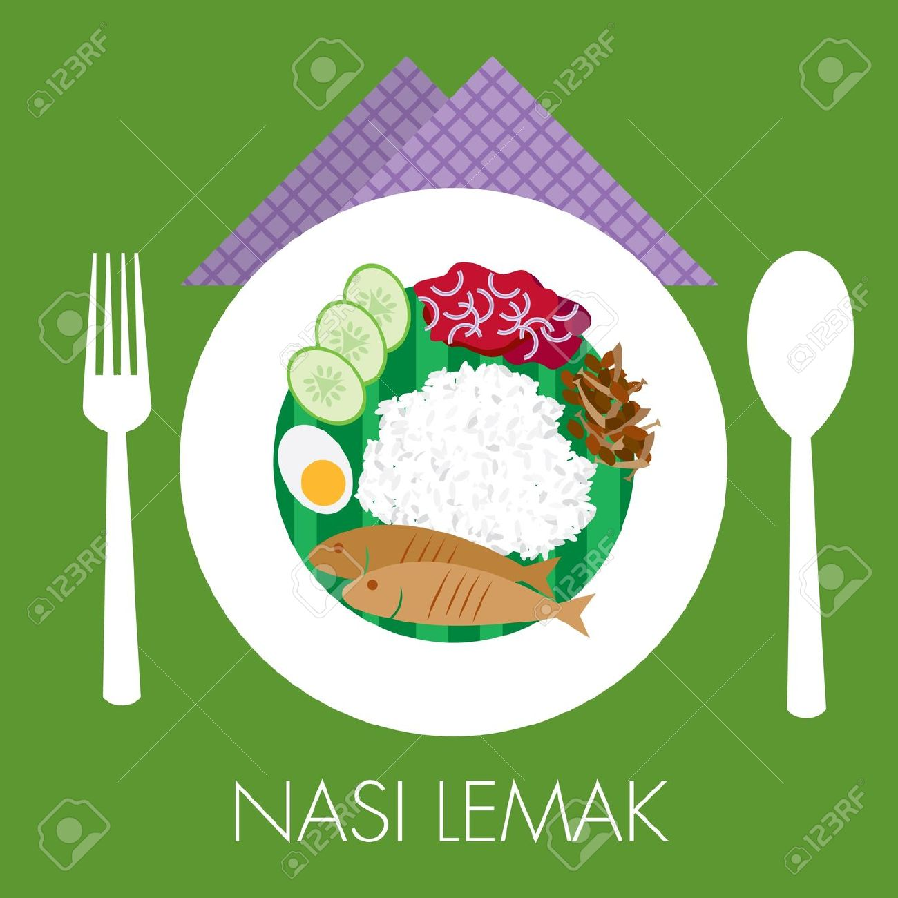 Malay Traditional Coconut Milk Rice Nasi Lemak With Sambal Peanut.