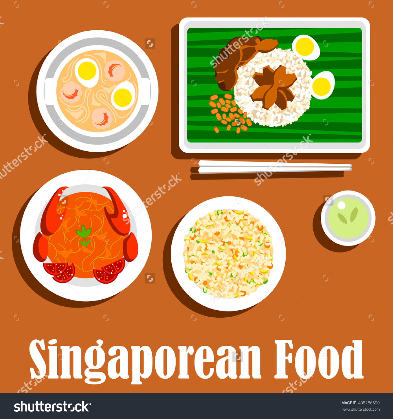 Singaporean Cuisine Fried Rice Nasi Goreng Stock Vector 408286690.