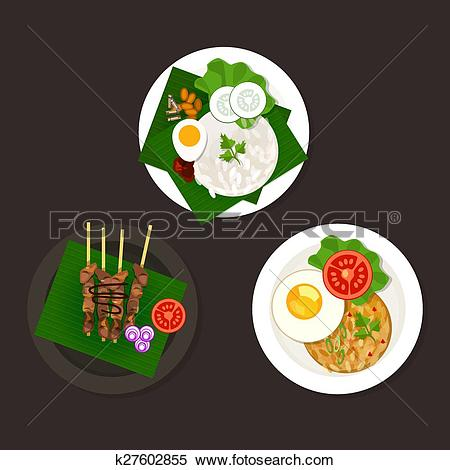 Clipart of indonesian malaysian food nasi goreng lemak sate.