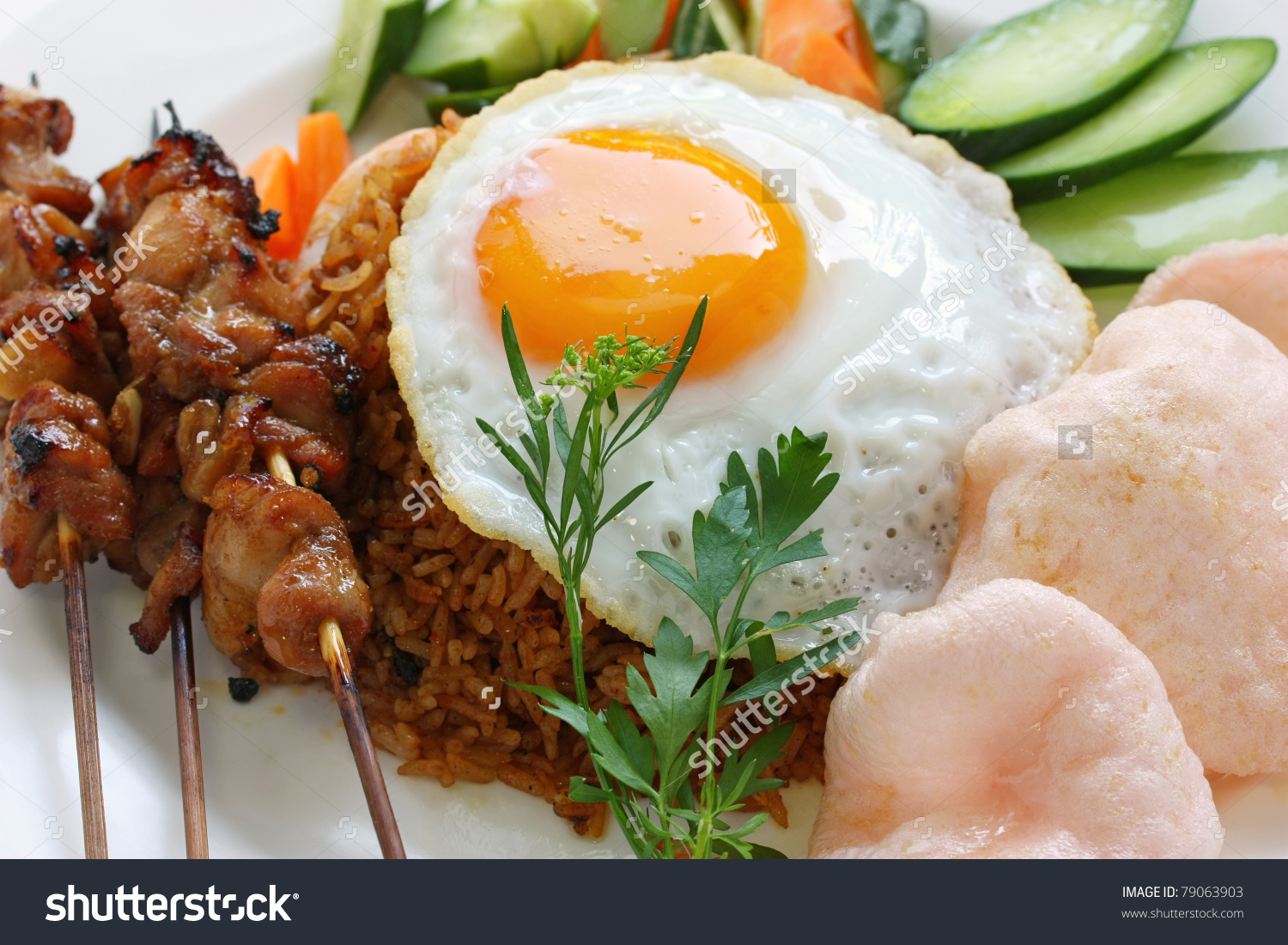 Nasi Goreng Prawn Crackers Chicken Satay Stock Photo 79063903.