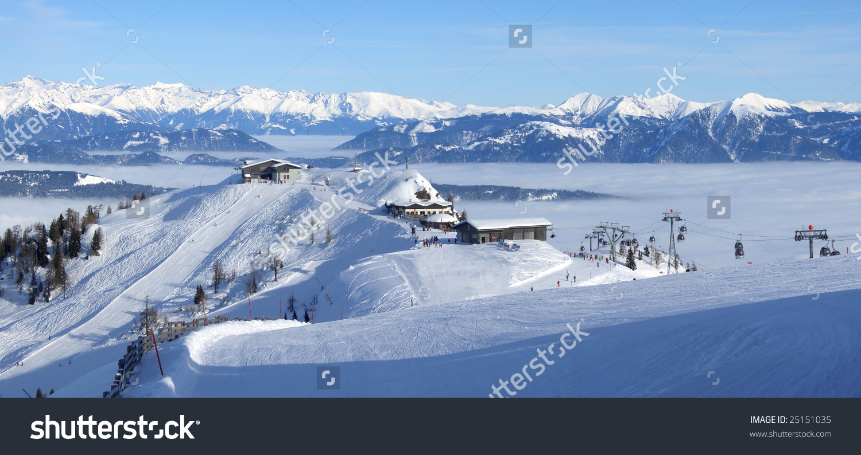 Panoramic View Of The Top Of Nassfeld Ski Resort On The Border.