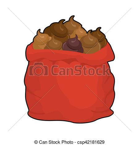 Vector Illustration of Santa shit bag. Full sack turd. Big red.