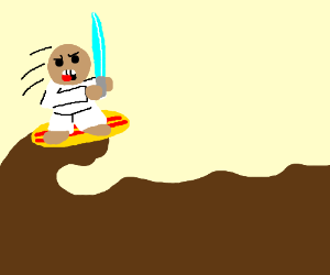 samurai man surfs of nasty brown waves (drawing by jobe14).