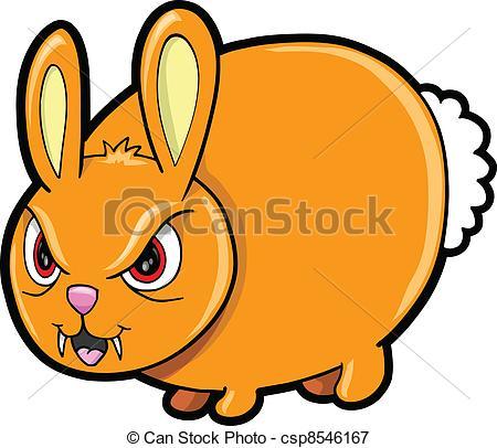 Vectors Illustration of Nasty Mean Bunny Rabbit Animal Vector.