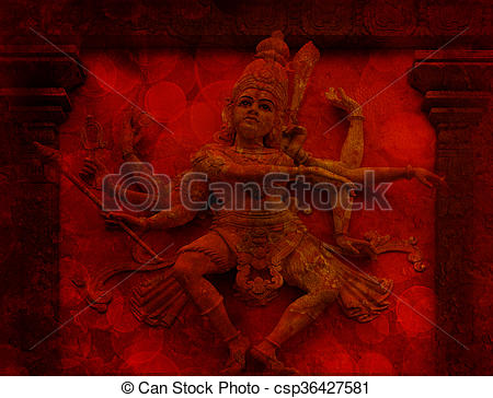 Pictures of Nataraj Dancing Shiva Wall Relief Statue Red Grunge.