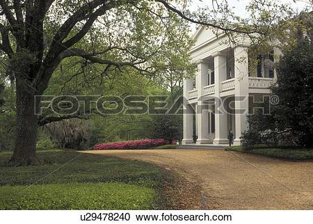 Stock Photography of antebellum, Natchez, MS, Mississippi, Spring.