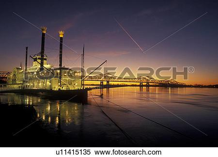 Stock Image of casino, sunset, Natchez, Mississippi River.
