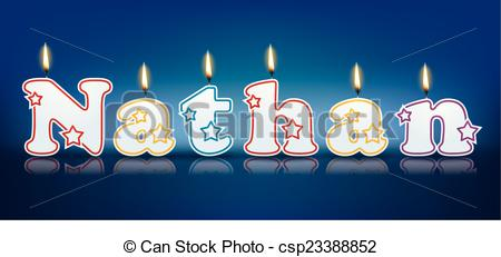 Clipart Vector of NATHAN written with burning candles.