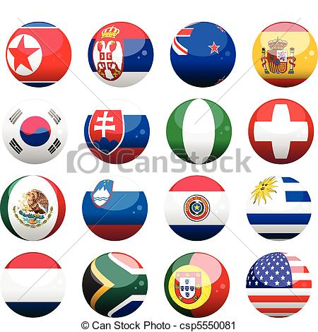 Vector Clip Art of world cup nation flag spheres2.