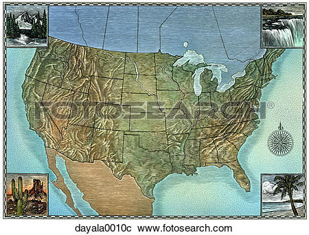 Stock Photography of map, united states, topographical map, map.