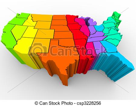 Stock Illustration of United States Rainbow of Colors.