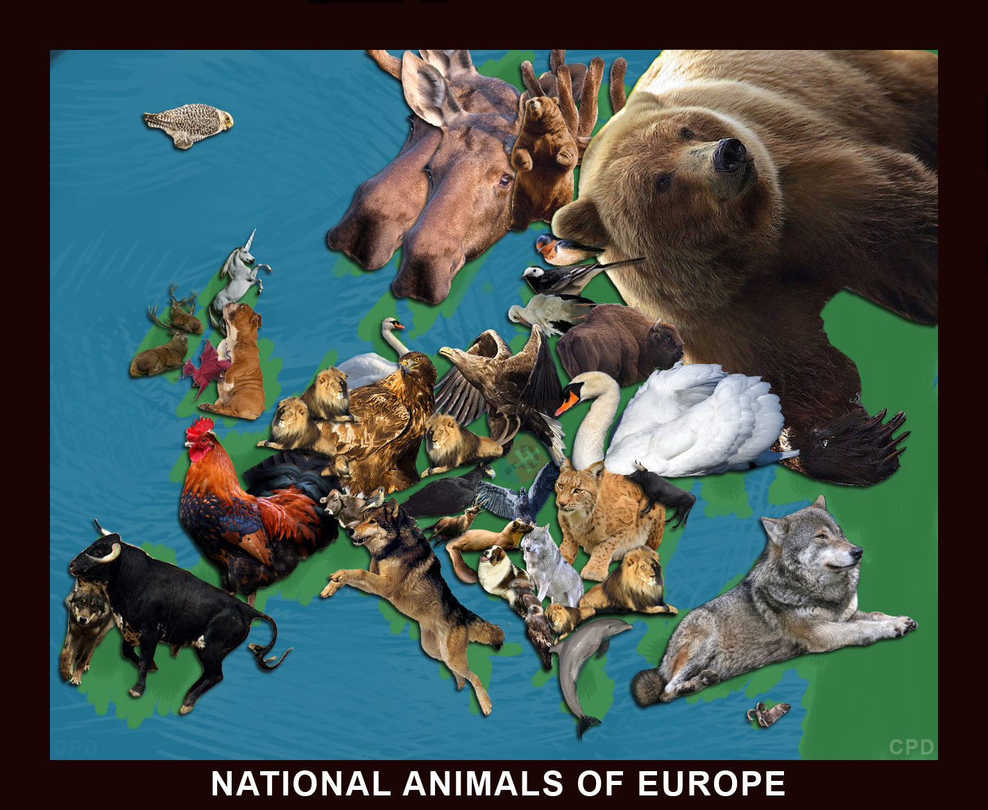 National Animals of Europe [OC] : MapPorn.