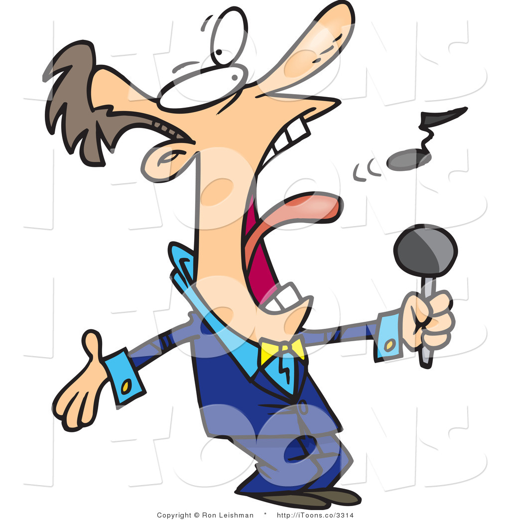 Vector Clip Art of a Man in a Blue Suit, Singing the National.