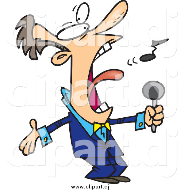 Cartoon Vector Clipart of a White Man Belting out the National.