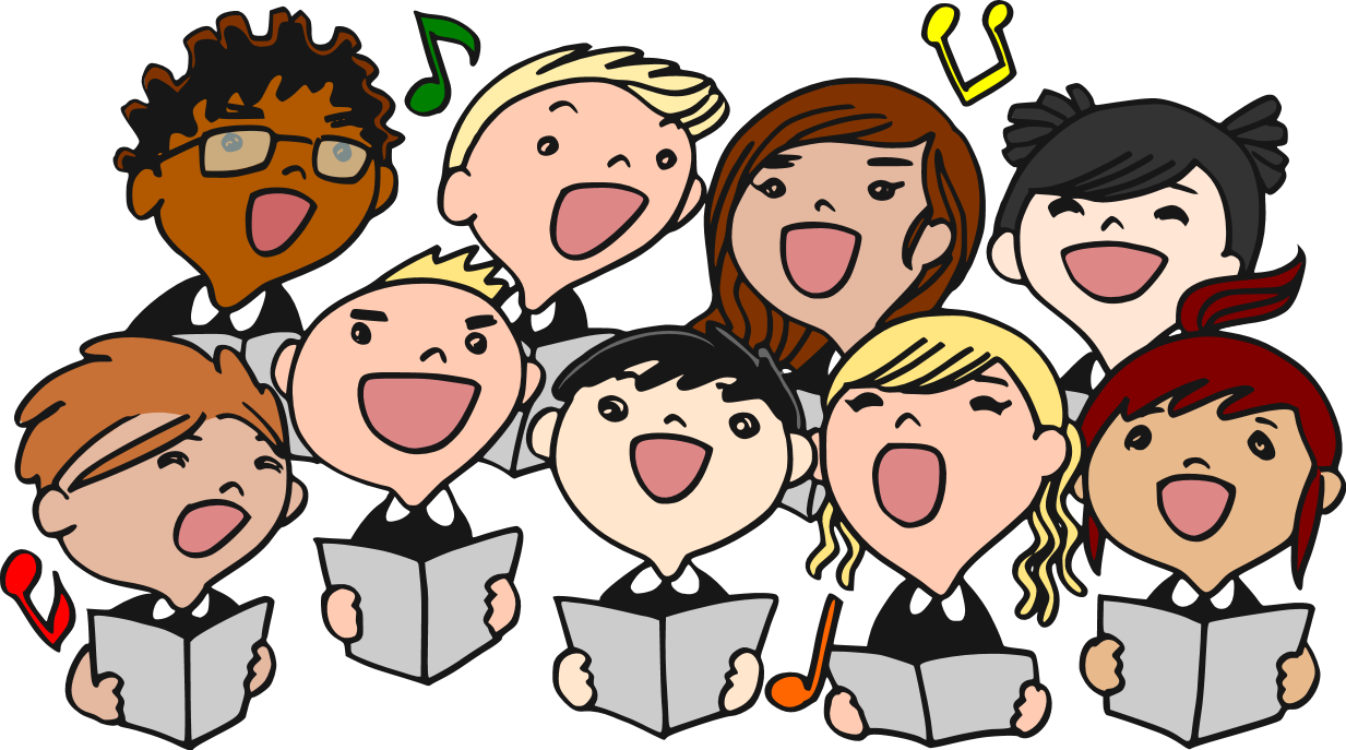 Singing national anthem clipart.