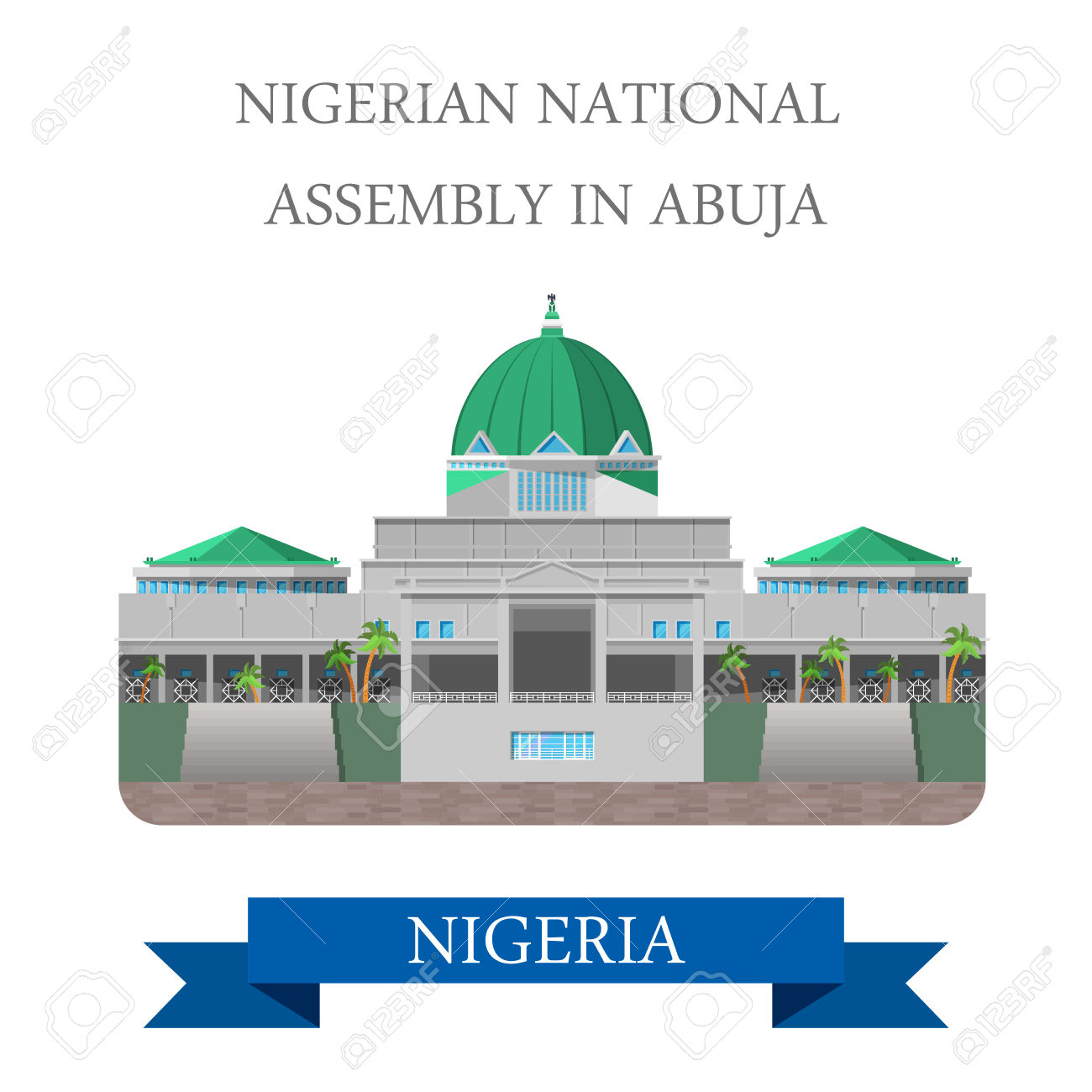 National Assembly Of Nigeria In Abuja. Flat Cartoon Style Historic.