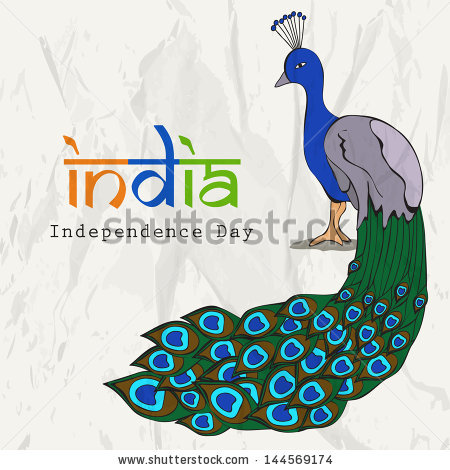 Indian Independence Day Background National Bird Stock Vector.