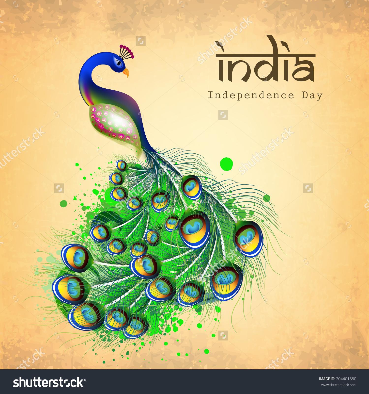 Indian National Bird Beautiful Peacock On Stock Vector 204401680.