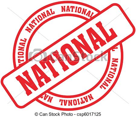 Vector Clip Art of national word stamp.