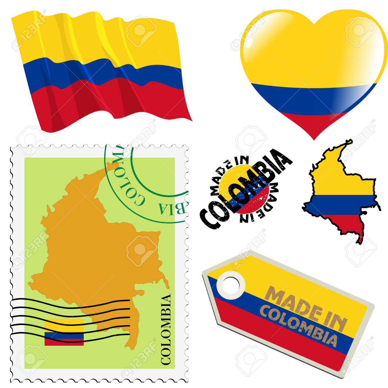 Set Of Different Symbols In National Colours Of Colombia Royalty.