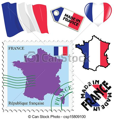 Vector Clipart of national colours of France.