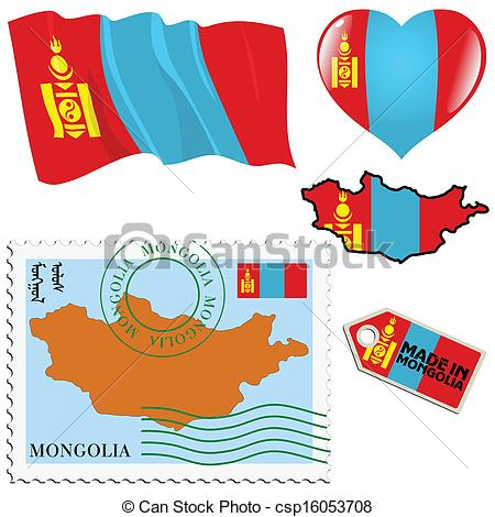 Vector Clipart of national colours of Mongolia.