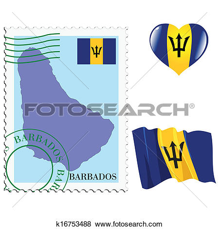 Clip Art of national colours of Barbados k16753488.