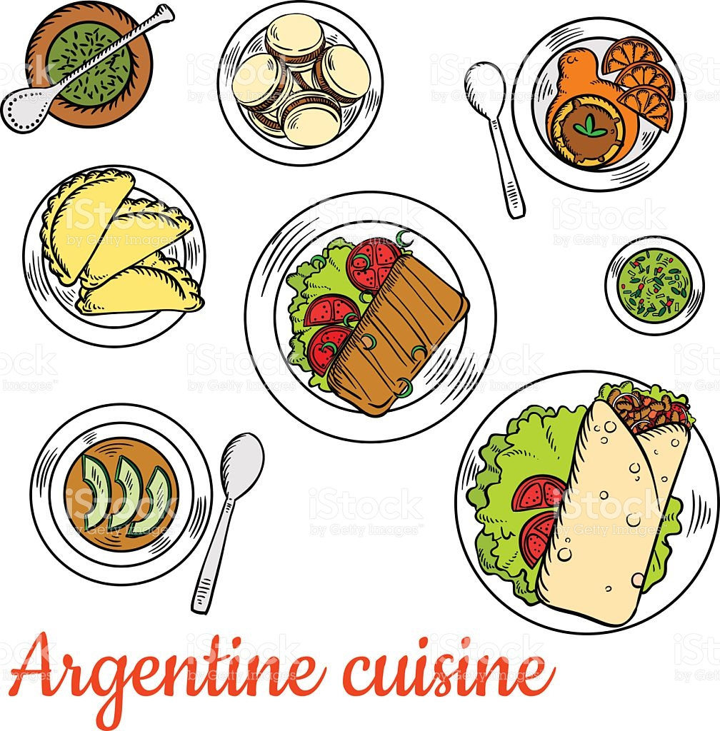 Bright National Dishes Of Argentine Cuisine Sketch stock vector.