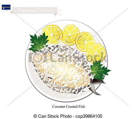 Vector Clipart of Coconut Crusted Fish, A National Dish of Nauru.