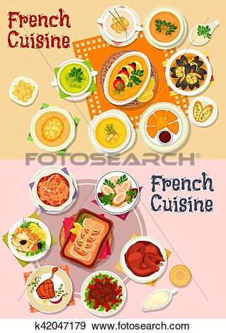 Clip Art of French cuisine national dish icon for menu design.