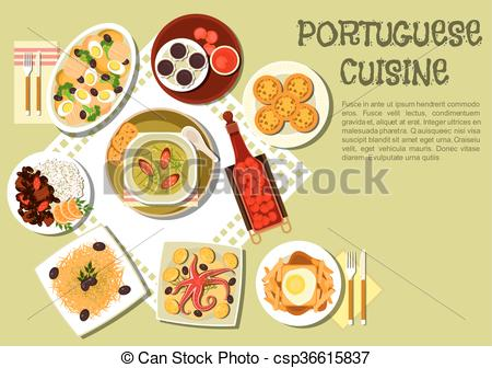 Vectors of Bright national dishes of portuguese cuisine icon.