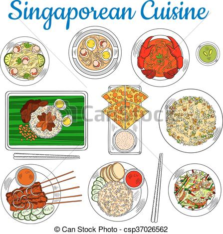 Clip Art Vector of National dishes of singaporean cuisine sketch.
