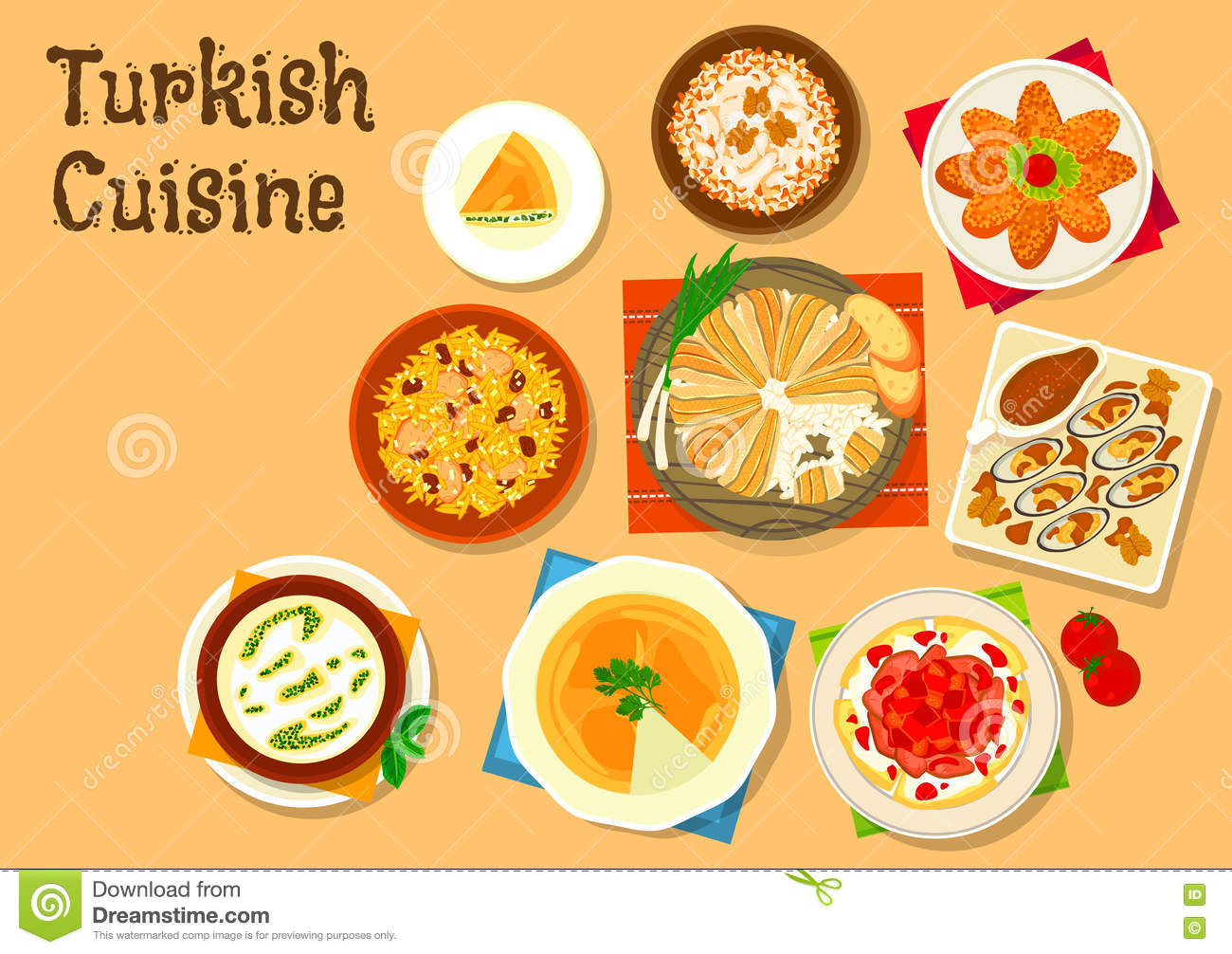 Turkish Cuisine National Dishes For Menu Design Stock Vector.