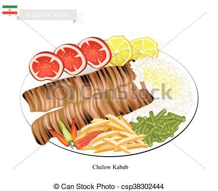 EPS Vector of Chelow Kabab, The National Dish of Iran.