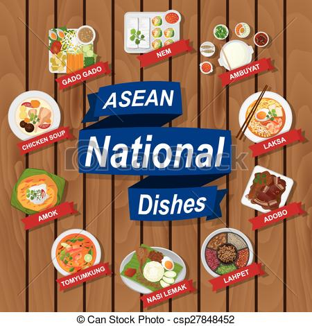 Clipart Vector of National dishes of ASEAN on wooden background.