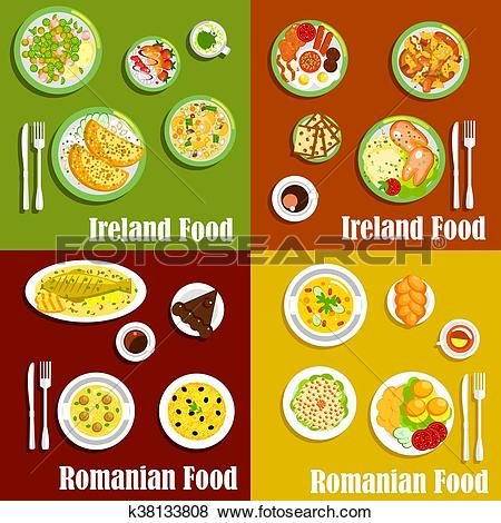 Clip Art of National dishes of irish and romanian cuisines.