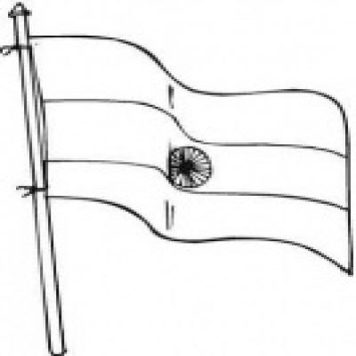 Indian national flag clipart black and white.